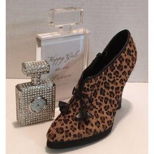 Charles DAVID Leopard Fur SHOE Bootie Leather Heel